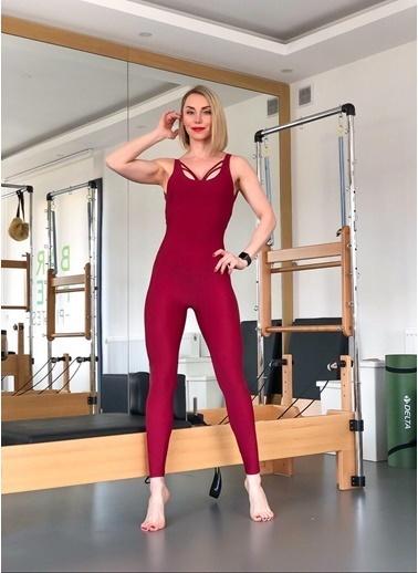 LizzSpor Kadın Yoga Pilates Tulumu Bordo Bordo